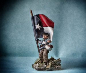 portabandiera texano,American Civil Wars, miniatura 28 millimetri metallo Wargames Foundry, pittura giallinovagabondo