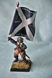 Portabandiera Scots Covenanters, miniatura 28mm in metallo Warlord Games, pittura giallinovagabondo