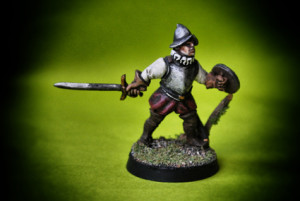 Swashbucklers ,miniatura in metallo 28mm Wargames Foundry, pittura giallinovagabondo