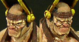 Miniatura resina 30mm della Miniature Factory scolpita da Jacques Alexandre Gillois, particolare viso