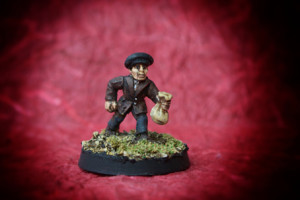Pickpocket, miniatura 28mm in metallo Wargames Foundry, pittura giallinovagabondo