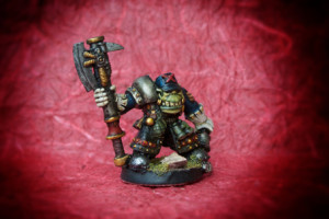 Orc Nobz, miniatura in 28mm metallo Games Workshop, pittura giallinovagabondo