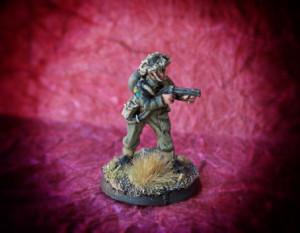 Canadian Flamethrower,miniatura 28mm metallo Warlord Games,pittura giallinovagabondo