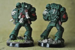 Dark Angels Space Marines, miniatura 28mm plastica Games Workshop, pittura giallinovagabondo