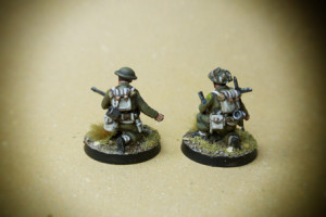 Canadian Infantry, Mortar Team,miniature in plastica 28mm Warlord Games,pittura giallinovagabondo