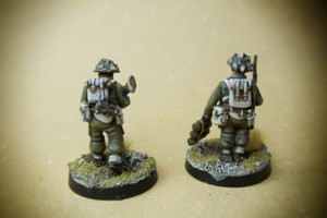 Canadian Infantry, Piat Team,miniature in plastica 28mm Warlord Games,pittura giallinovagabondo