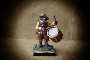 Swedish Drummer Red Regiment,miniatura 28mm plastica Warlord Games, pittura giallinovagabondo