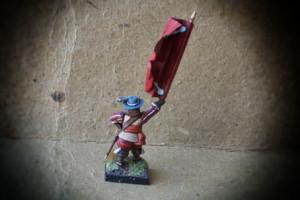 Swedish Standard Bearer Red Regiment,miniatura plastica 28mm Warlord Games,pittura giallinovagabondo