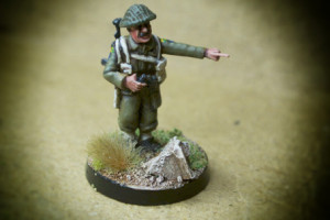 Canadian Infantry, Lieutenant ,miniatura in plastica 28mm Warlord Games,pittura giallinovagabondo