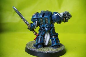 Capitano Ultramarines in terminator armour,miniatura in metallo 28mm Games Workshop,pittura giallinovagabondo