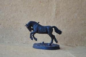 La miniatura del cavallo dopo il passaggio del primer nero