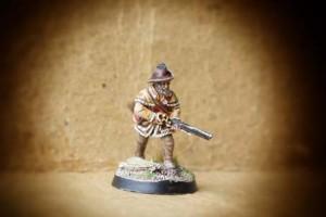 Miliziano Guerra Indipendenza Americana,miniatura 28 mm metallo Perry Miniatures, pittura giallinovagabondo