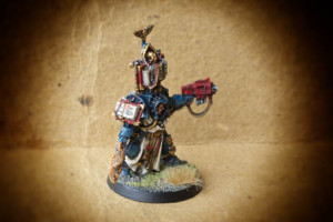 Dark Angels Librarian (Terminator Armour), miniatura metallo 28mm Games Workshop, pittura giallinovagabondo
