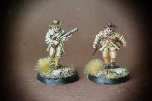 Riflemen Advancing/Skirmishing American War of Indipendence, miniature in metallo 28mm Perry Miniatures,pittura giallinovagabondo