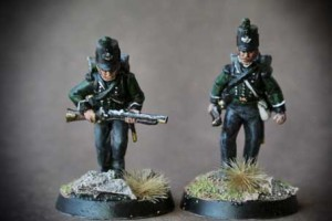 British 95th Rifles,miniature in plastica 28mm Perry Miniatures,pittura Giallinovagabondo