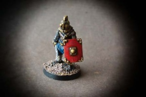 Secutor miniatura 28mm metallo, Crusader Miniatures, pittura Giallinovagabondo