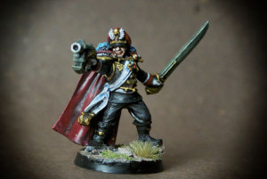 Imperial Guard Commissar, miniatura in plastica 28mm Games Worshop, pittura giallinovagabondo