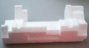 Blocco in polistirolo utilizzato come struttura portante per la fortezza