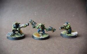 Gretchins,miniature in plastica 28mm Games Workshop,pittura giallinovagabondo