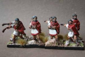 Balearic Slingers Contubernium, miniature in metallo 28mm Warlord Games,pittura giallinovagabondo