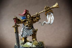 Knight Heraldor, miniatura 30 mm in plastica Games Workshop,pittura giallinovagabondo